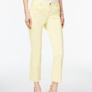 INC Women's Regular Fit Scalloped Cropped Jeans
